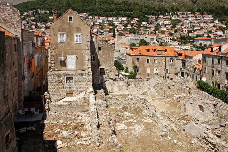 Ruinen in Dubrovnik lizenzfreie stockfotos