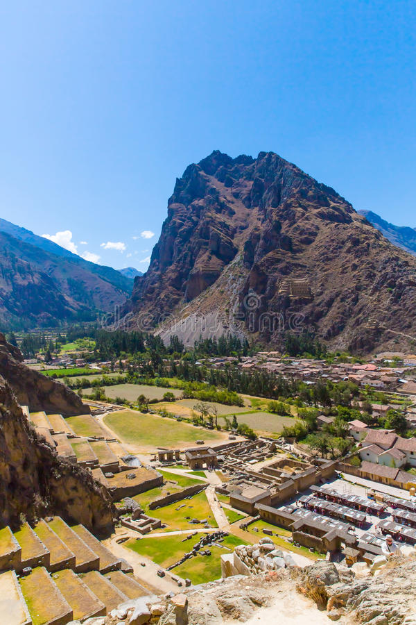 Ruinen Ollantaytambo, Perus, des Inkas und archäologische Fundstätte in Urubamba, Südamerika. stockfotos