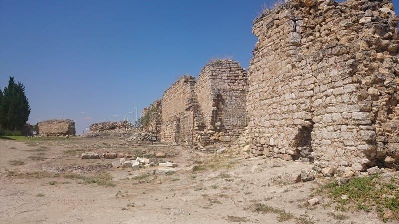 Ruinen und Ruinen der alten Stadt, Hierapolis nahe Pamukkale, die Türkei stockbilder