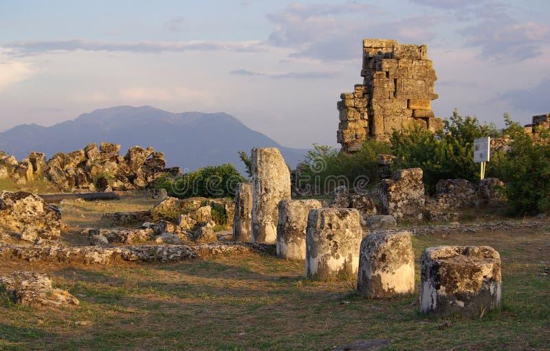 Ruinen von altem Hierapolis, Pamukkale Die Türkei stockfotos