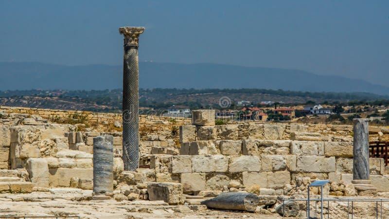 Ruinen von altem Kourion Limassol-Bezirk Zypern, am 6. August 2017 lizenzfreie stockfotos