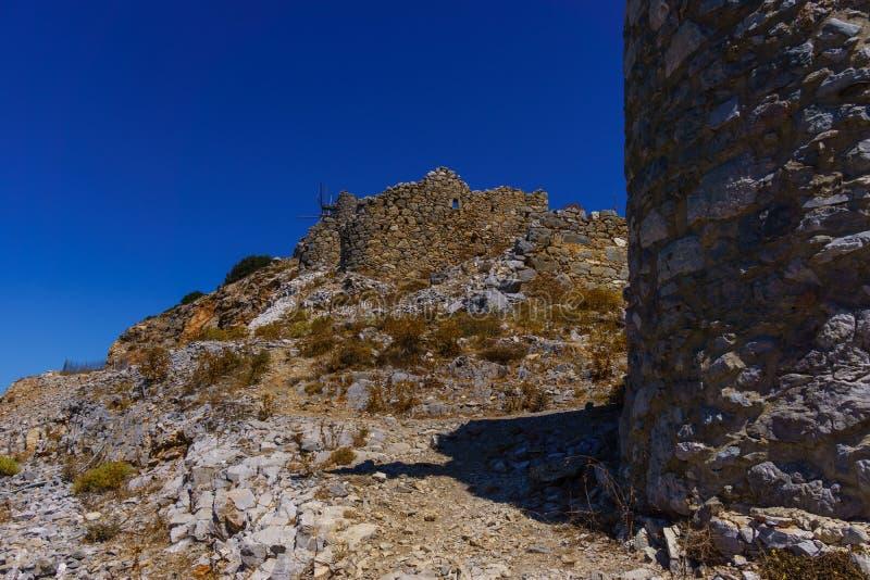 Ruinen von den encient Windmühlen errichtet im 15. Jahrhundert lizenzfreies stockbild