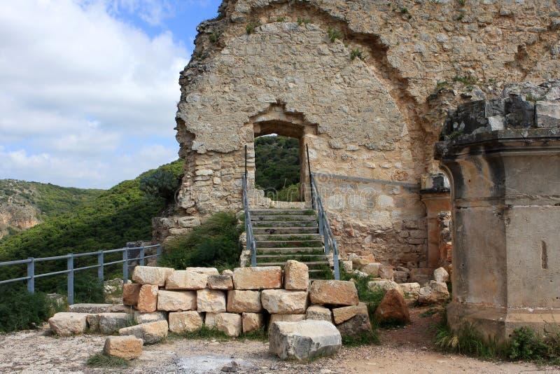 Ruinen von Monfort-Schloss, Israel lizenzfreie stockbilder