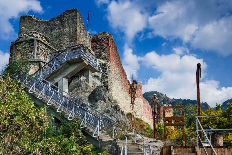Ruinen von Poenari-Festung, Rumänien lizenzfreies stockbild