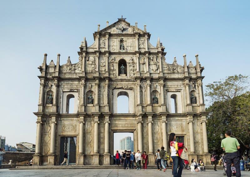 Ruinen von St Paul in Macao-Porzellan lizenzfreie stockfotos