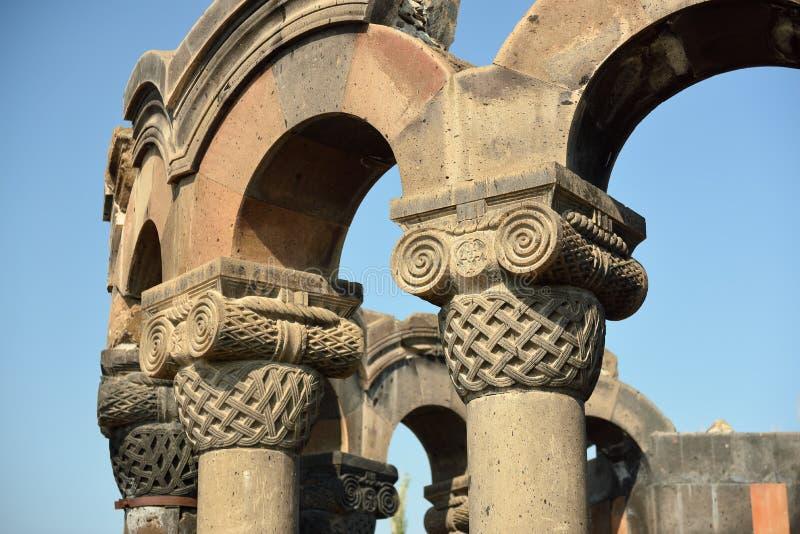 Ruinen von Zvartnots-Kathedrale Ejmiatsin, Armenien stockfotos