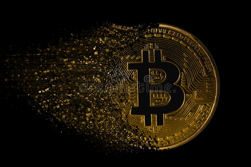 Ruiner le bitcoin photographie stock