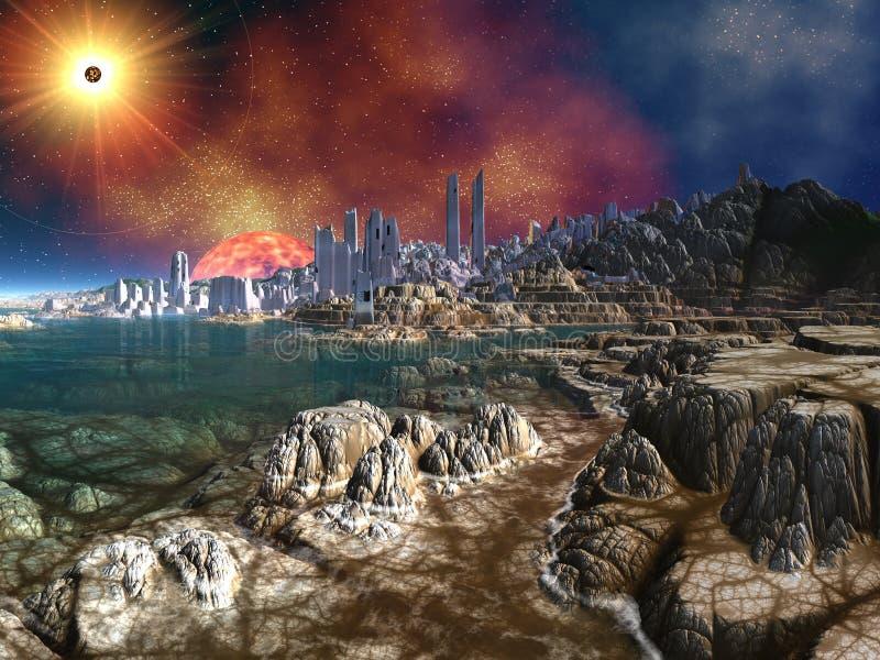 Ruines étrangères de ville par Ocean sous les soleils jumeaux illustration libre de droits