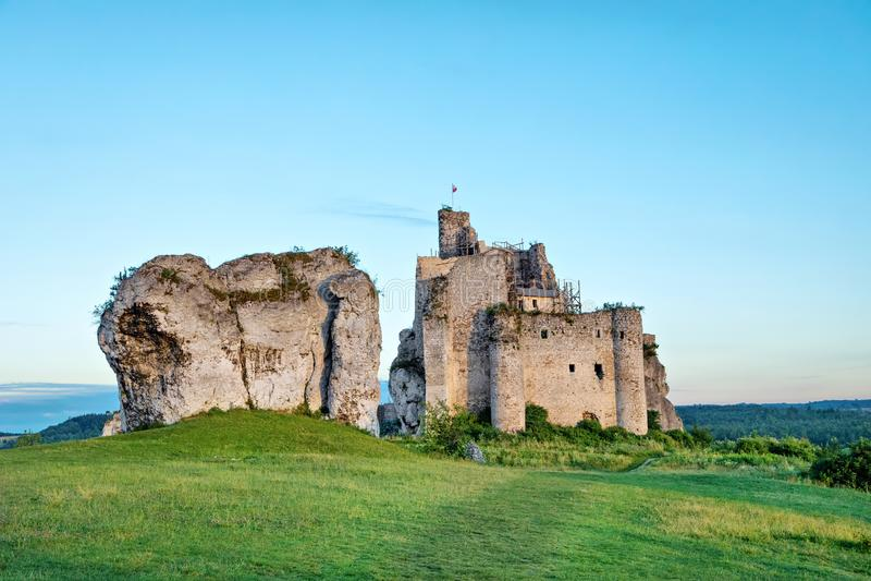Ruines abandonnées de château du 14ème siècle de Mirow, Pologne images libres de droits