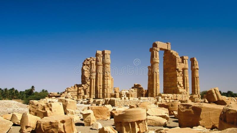 Ruines Amun świątynia w Soleb Sudan fotografia stock