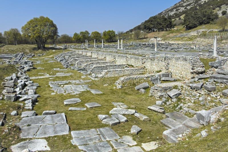 Ruines antiques au secteur archéologique de Philippi, Grèce photos libres de droits