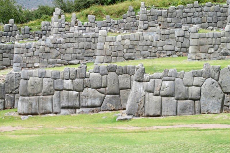 Ruines antiques d'Inca de Sacsayhuaman près de Cusco, Pérou images stock