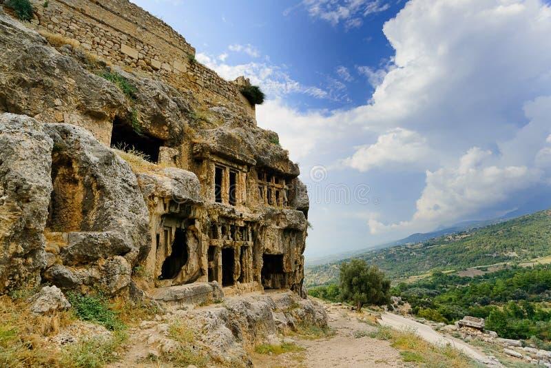 Ruines antiques dans les montagnes de la Turquie image stock