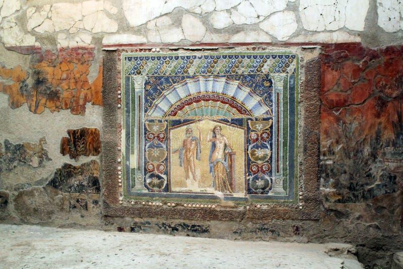 Ruines antiques de Herculanum de tilework de mosaïque, Ercolano Italie photo stock