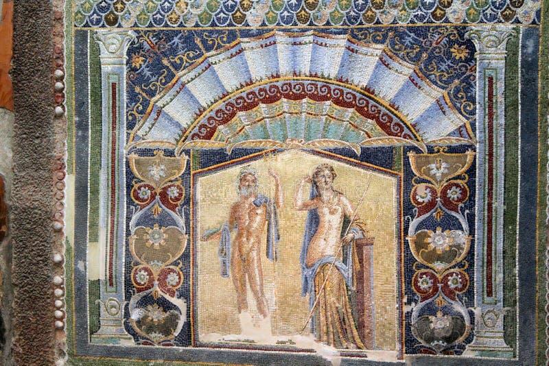 Ruines antiques de Herculanum de tilework de mosaïque, Ercolano Italie images libres de droits