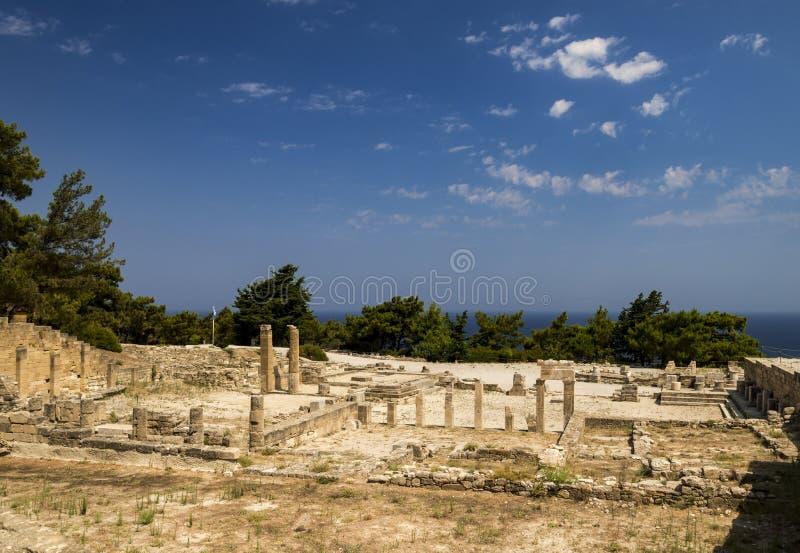 Ruines antiques de Kamiros sur Rhodes images libres de droits