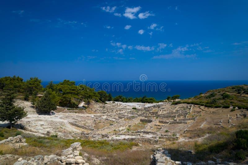 Ruines antiques de Kamiros sur Rhodes photo stock