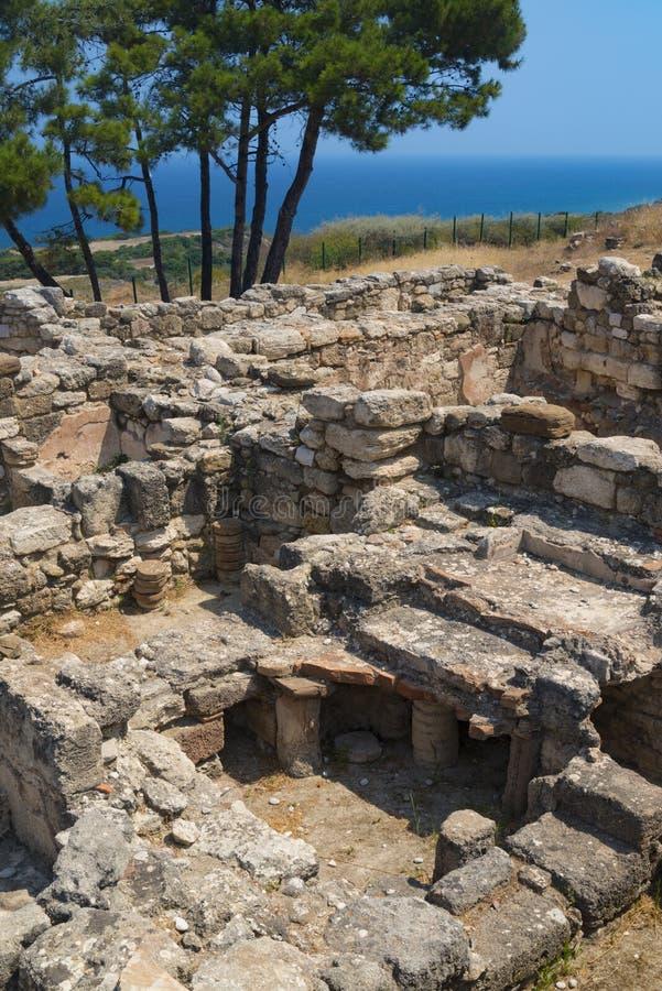 Ruines antiques de Kamiros sur Rhodes image stock