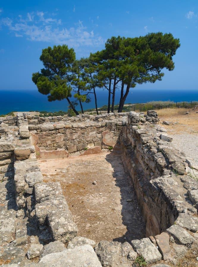 Ruines antiques de Kamiros sur Rhodes images stock