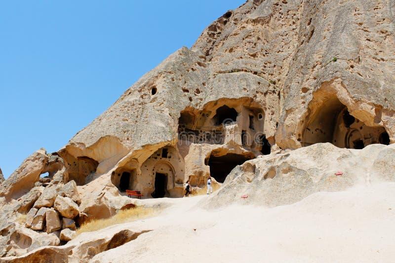 Ruines antiques de monastère de cathédrale de Selime dans Cappadocia, Turquie photographie stock