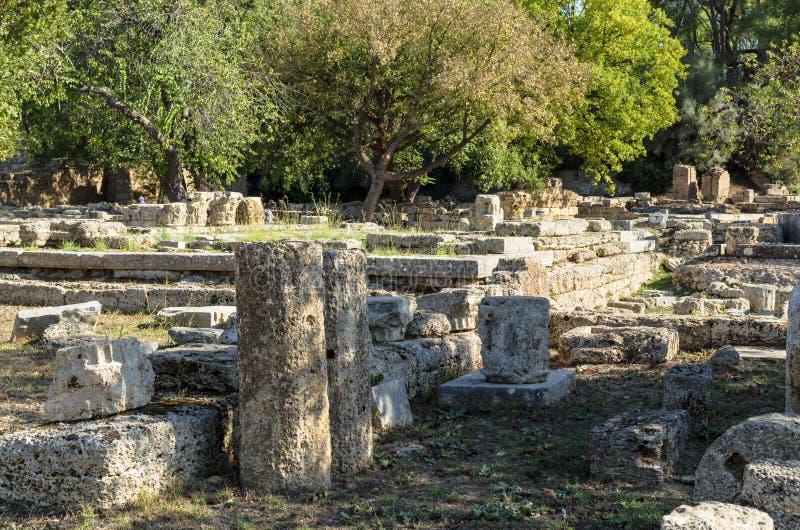 Ruines antiques de site archéologique d'Olympia dans Péloponnèse, Grèce photographie stock