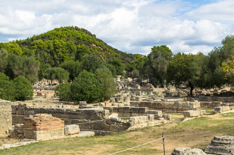 Ruines antiques de site archéologique d'Olympia dans Péloponnèse, Grèce images stock