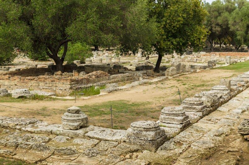 Ruines antiques de site archéologique d'Olympia dans Péloponnèse, Grèce image libre de droits