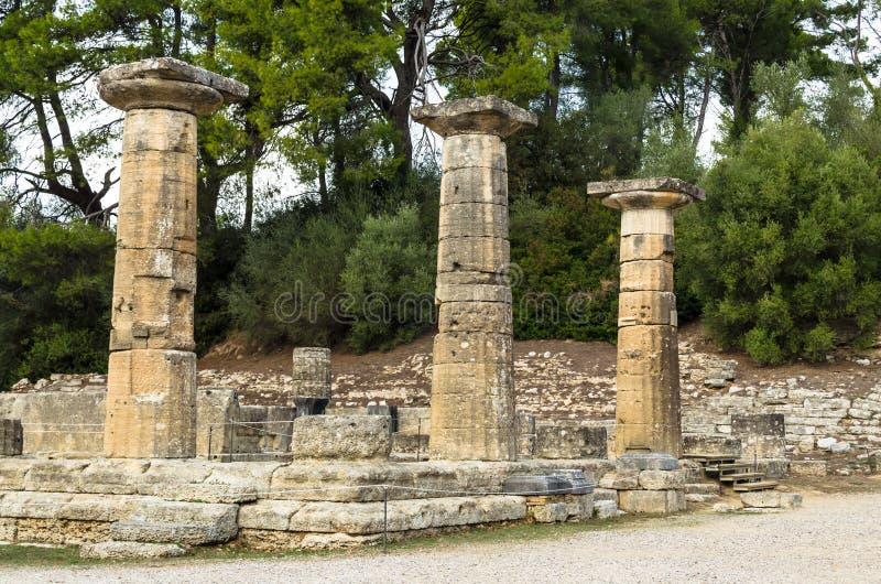 Ruines antiques de site archéologique d'Olympia dans Péloponnèse, Grèce images libres de droits