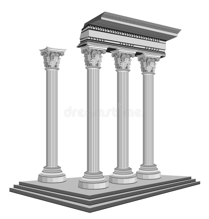 Ruines antiques de temple illustration stock