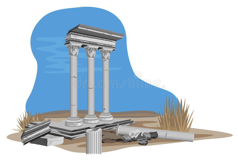 Ruines antiques de temple illustration de vecteur