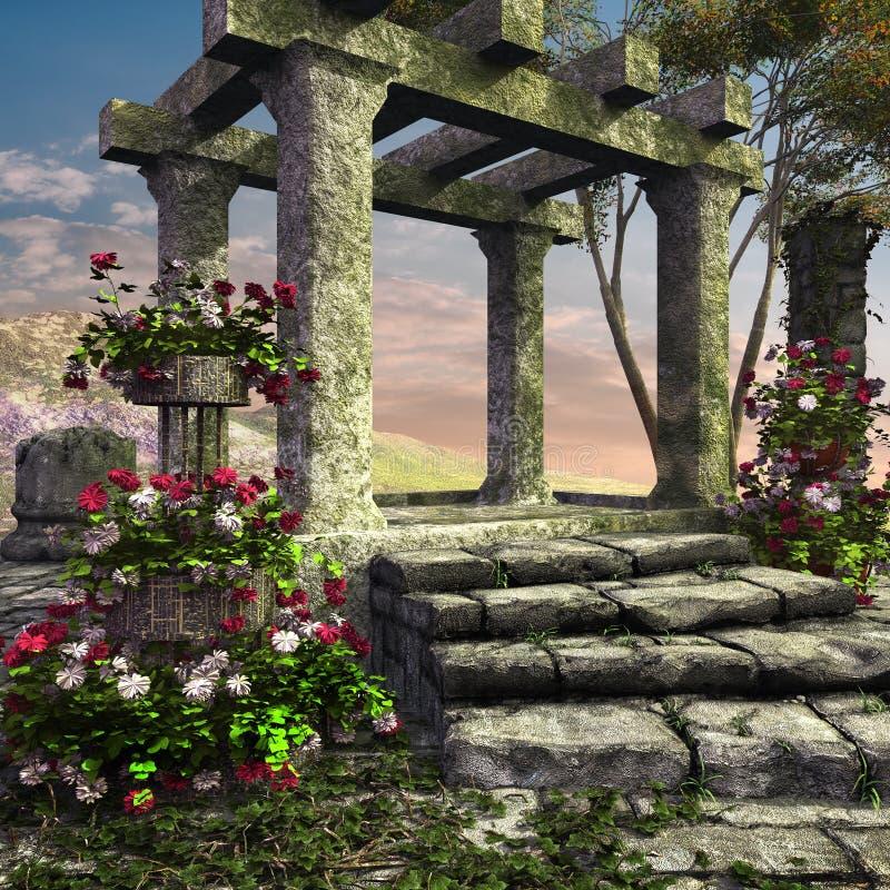 Ruines antiques de temple illustration de vecteur