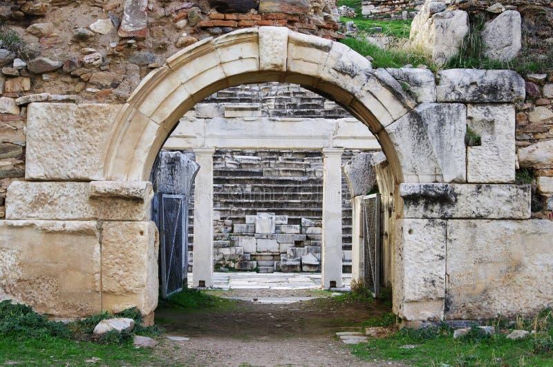 Ruines antiques de théâtre de ville antique d'Aphrodisias, Aydin/Turquie photo stock