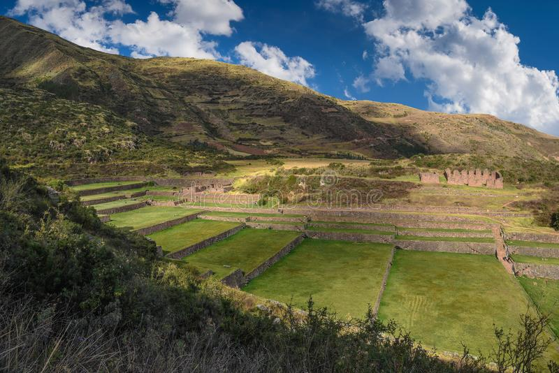 Ruines antiques de Tipon dans Cusco Pérou photos stock