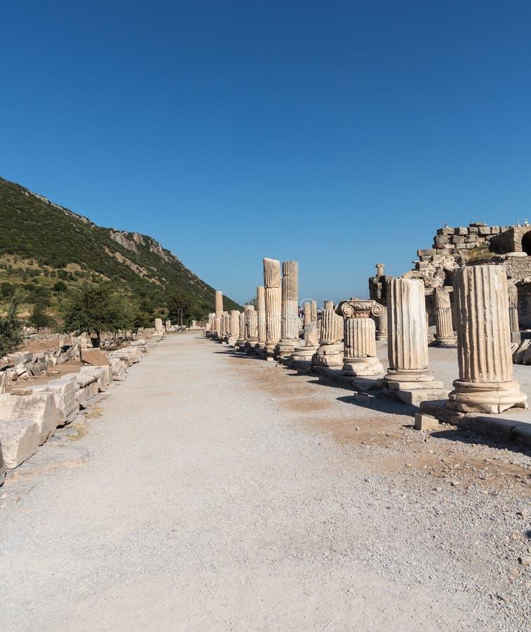 Ruines antiques de vieille ville grecque d'Ephesus photographie stock libre de droits