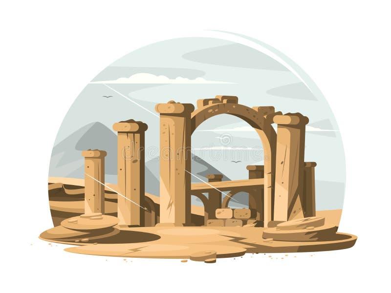 Ruines architecturales vieilles illustration libre de droits