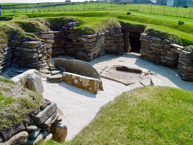 Ruines au Brae de Skara image stock