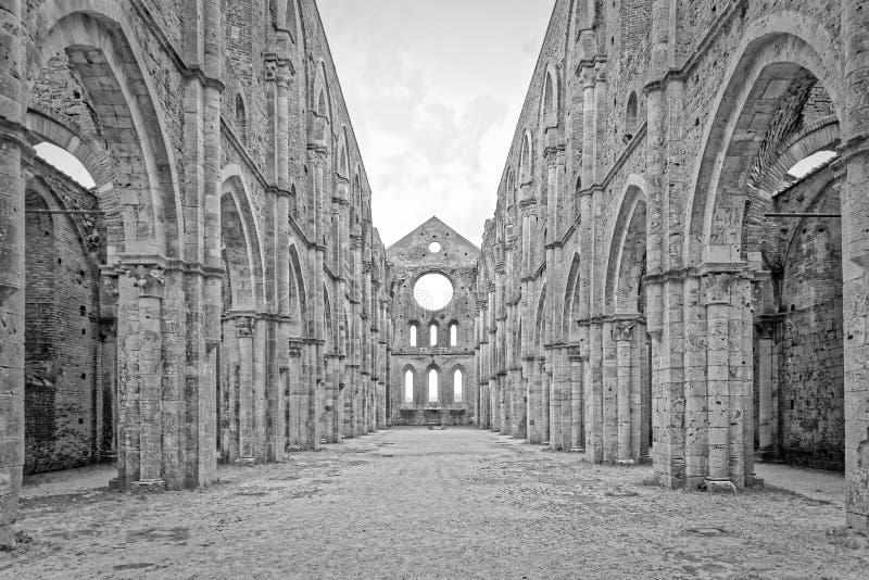 Ruines d'abbaye de San Galgano (B et W) image libre de droits
