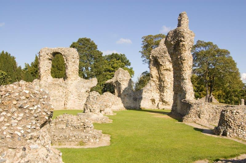 Ruines d'abbaye, rue Edmunds d'enfouissement images libres de droits