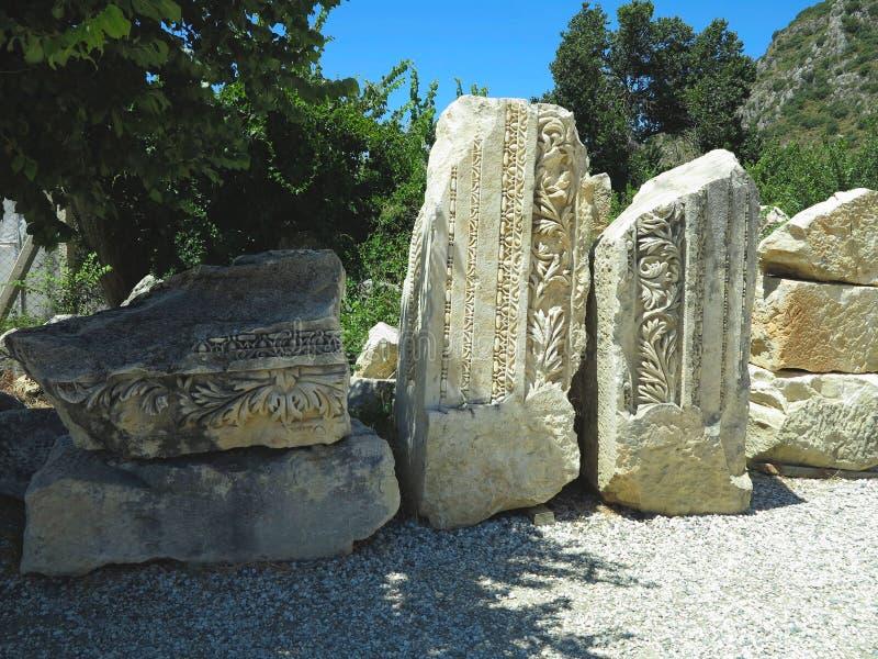 Ruines d'amphithéâtre Grec-romain antique en Myra, Demre, Turquie images libres de droits