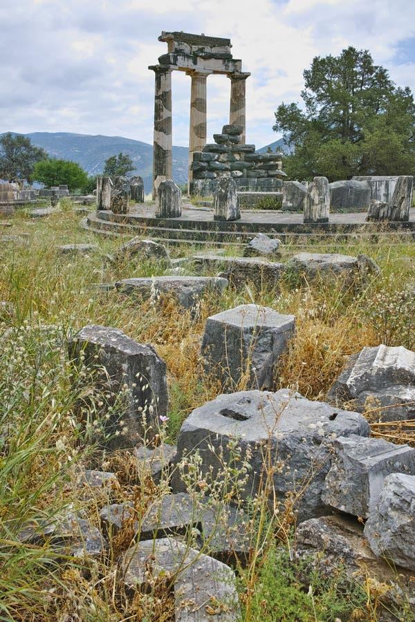 Ruines d'Athena Pronaia Sanctuary à Delphes, Grèce image stock