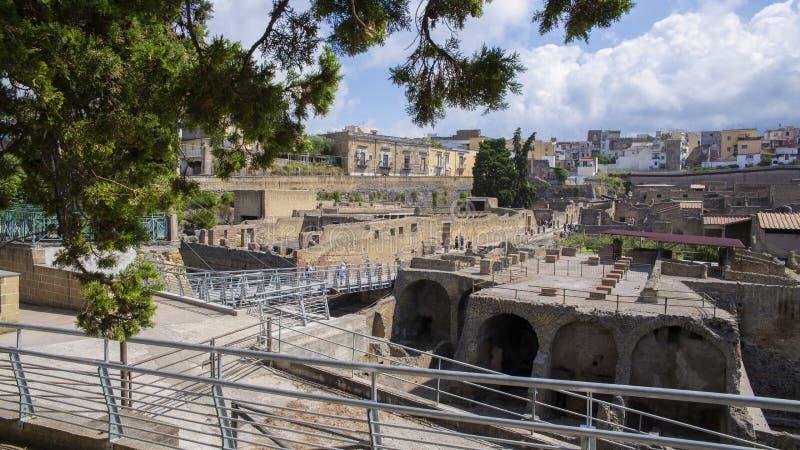 Ruines d'empire romain à Herculanum en Italie image stock