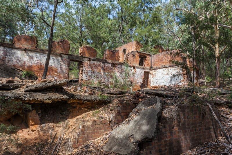 Ruines d'huile de schiste de Newnes près de Lithgow photo libre de droits