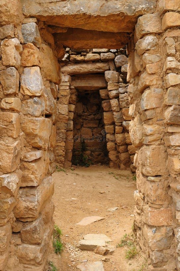 Ruines d'Inca, Isla del Sol, lac Titicaca, Bolivie photo stock