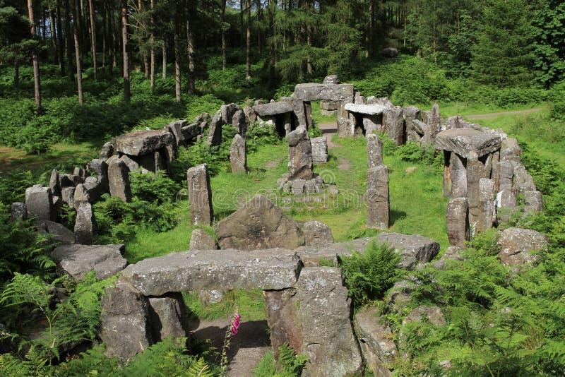 Ruines d'un temple de druides, North Yorkshire photographie stock libre de droits