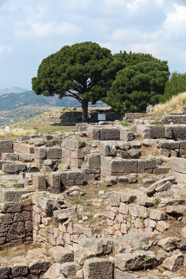 Ruines dans la ville antique de Pergamon image stock