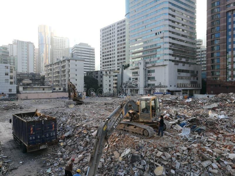 Ruines dans la ville de Shenzhen pour de vieux bâtiments étant détruits photos libres de droits