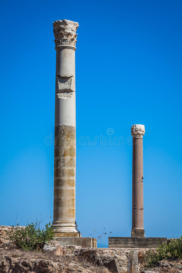 Ruines de Bath d'Antonine à Carthage, Tunisie photos stock