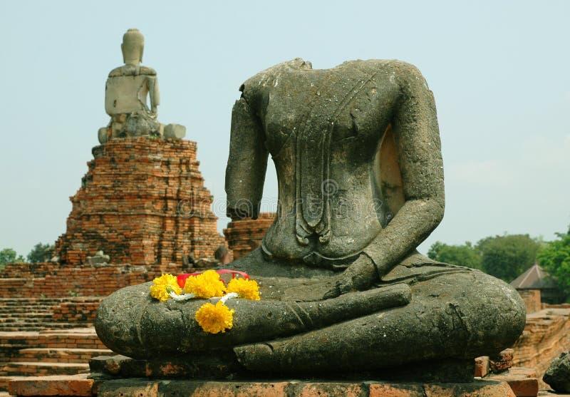 Ruines de Bouddha chez Ayutthaya photos libres de droits