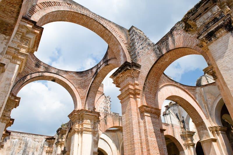 ruines de cathédrale de l'Antigua photos stock