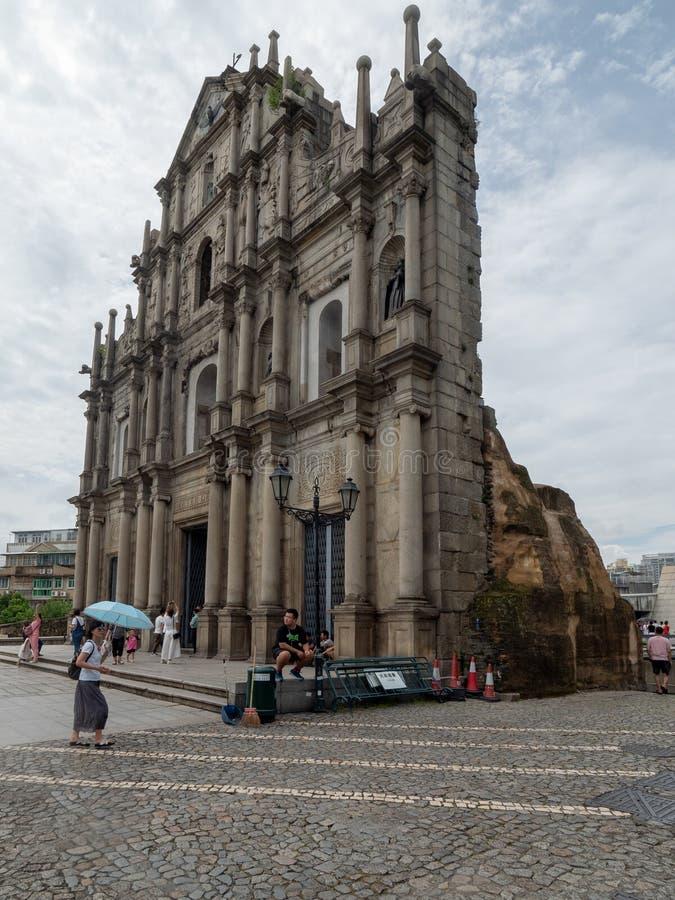 Ruines de cath?drale du ` s de St Paul dans Macao image libre de droits